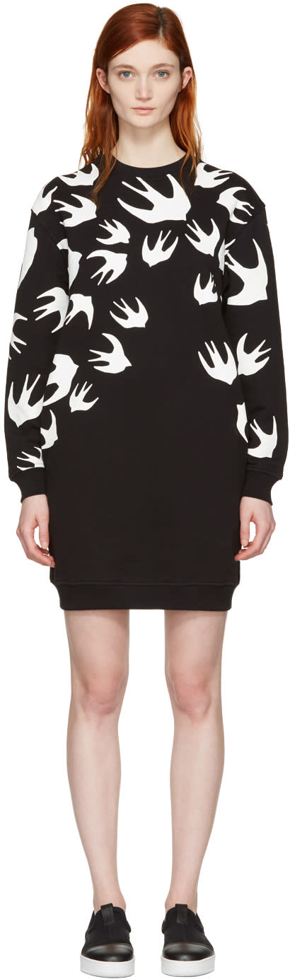 Mcq Alexander Mcqueen Black Swallows Pullover Dress
