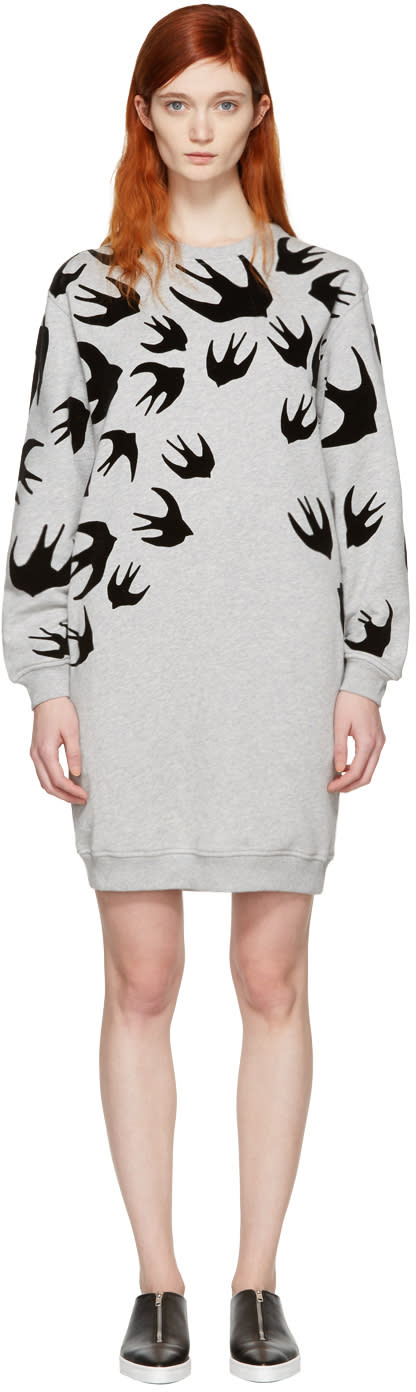 Mcq Alexander Mcqueen Grey Swallows Dress