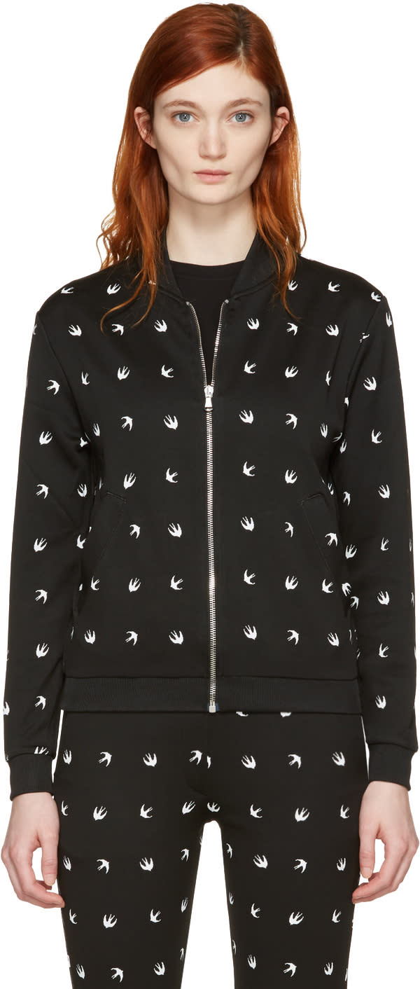 Mcq Alexander Mcqueen Black Swallows Bomber Jacket