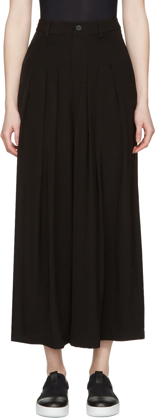 Mcq Alexander Mcqueen Black Pleated Wide-leg Trousers