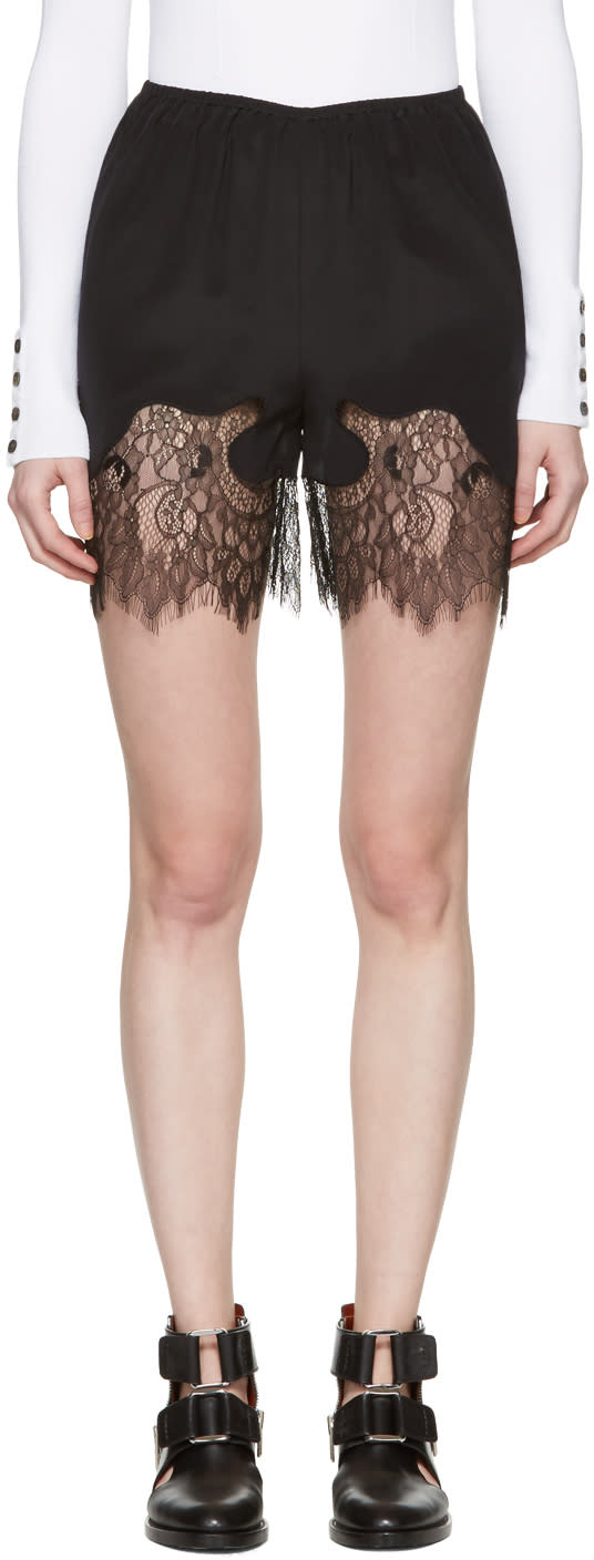 Mcq Alexander Mcqueen Black Fluid Lace Shorts