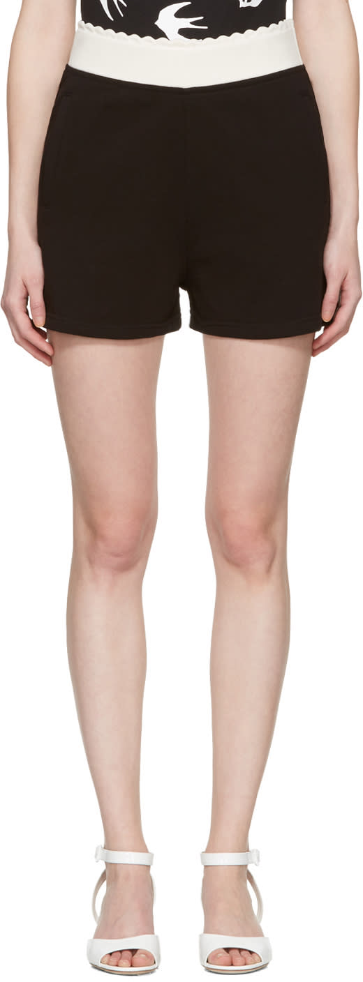 Mcq Alexander Mcqueen Black Scalloped Lounge Shorts