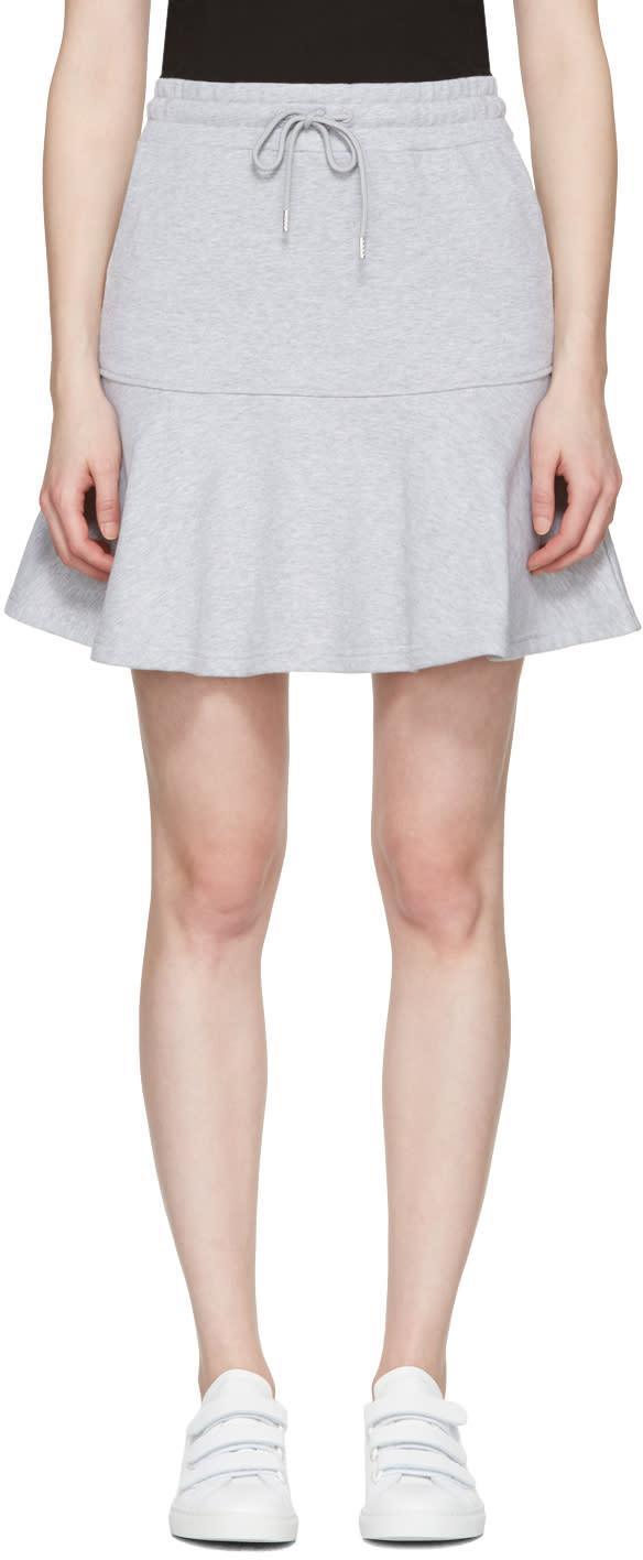 Mcq Alexander Mcqueen Grey Peplum Miniskirt