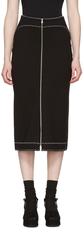 Mcq Alexander Mcqueen Black Contrast Stitch Skirt