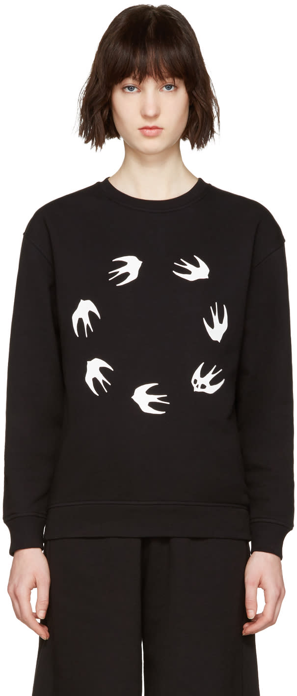 Mcq Alexander Mcqueen Black Round Swallows Pullover