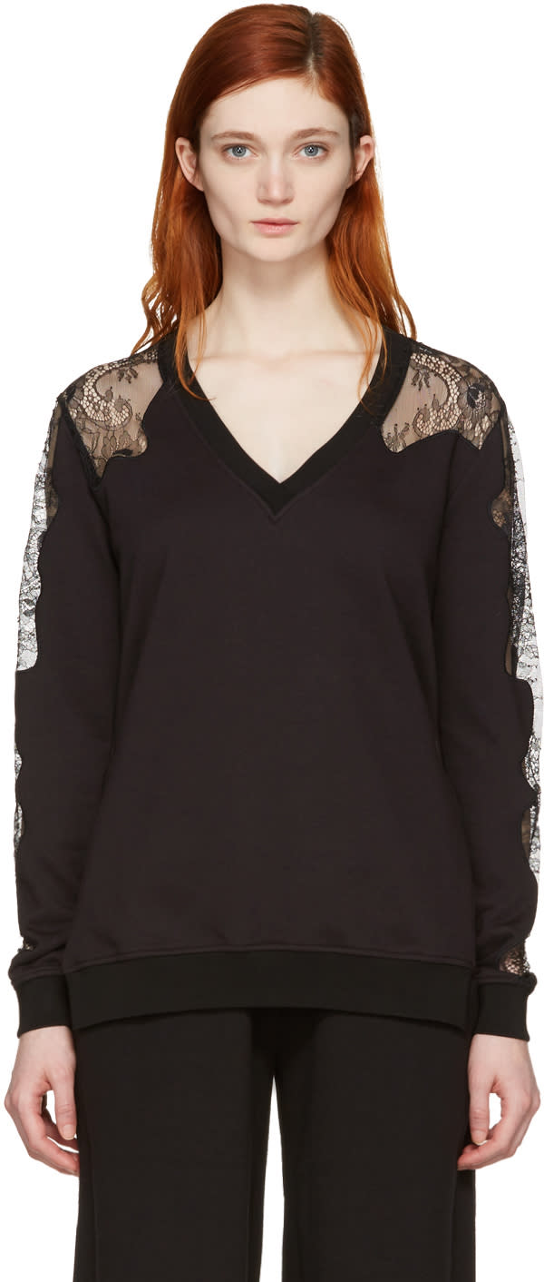 Mcq Alexander Mcqueen Black Lace-trimmed Pullover