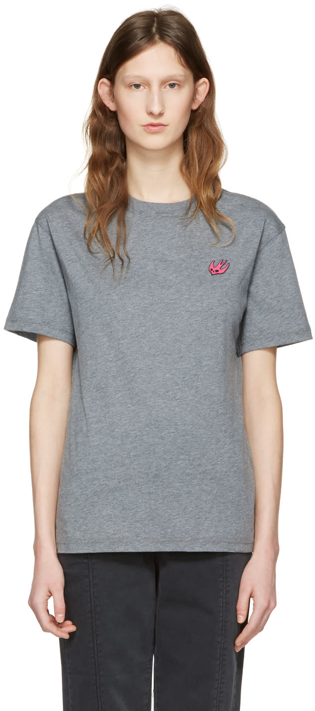 Mcq Alexander Mcqueen Grey Swallow Patch T-shirt