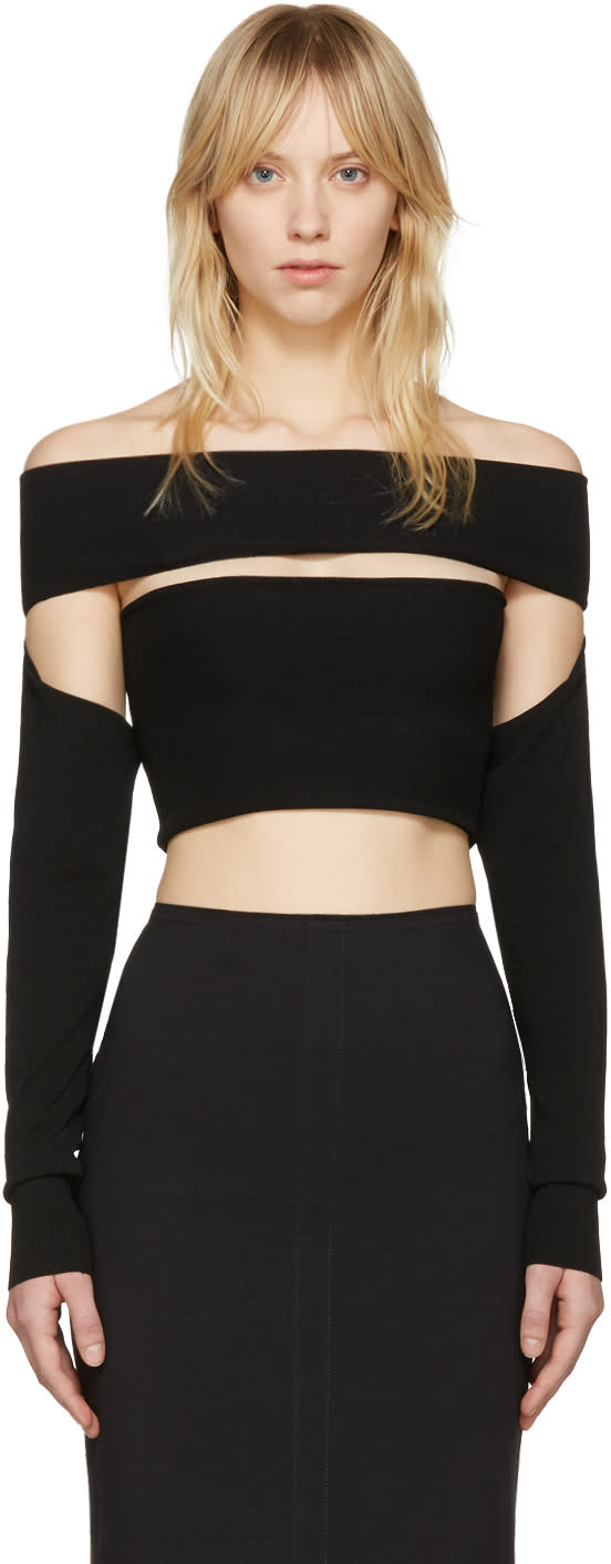 Mcq Alexander Mcqueen Black Bandeau Off-the-shoulder Top