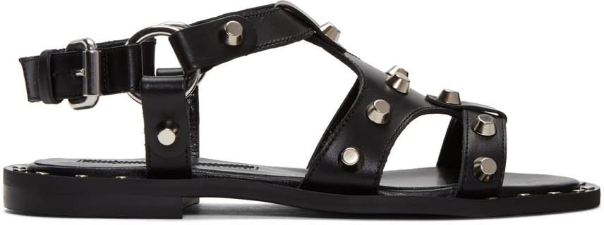 Mcq Alexander Mcqueen Black Solenie Gladiator Sandals