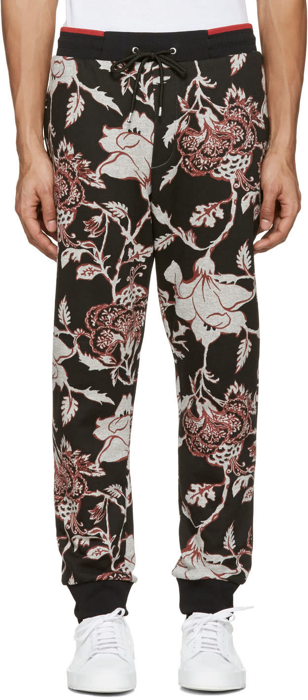 Mcq Alexander Mcqueen Pantalon De Survêtement Fleuri Noir