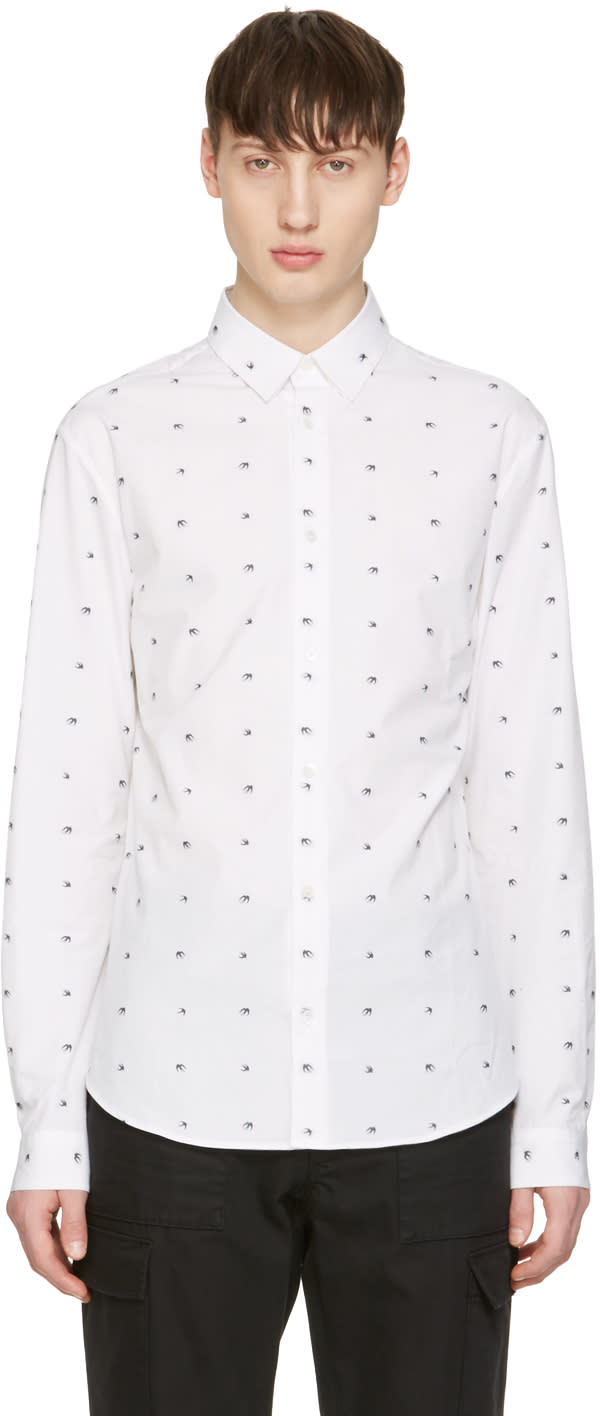 Mcq Alexander Mcqueen White Googe Swallows Shirt