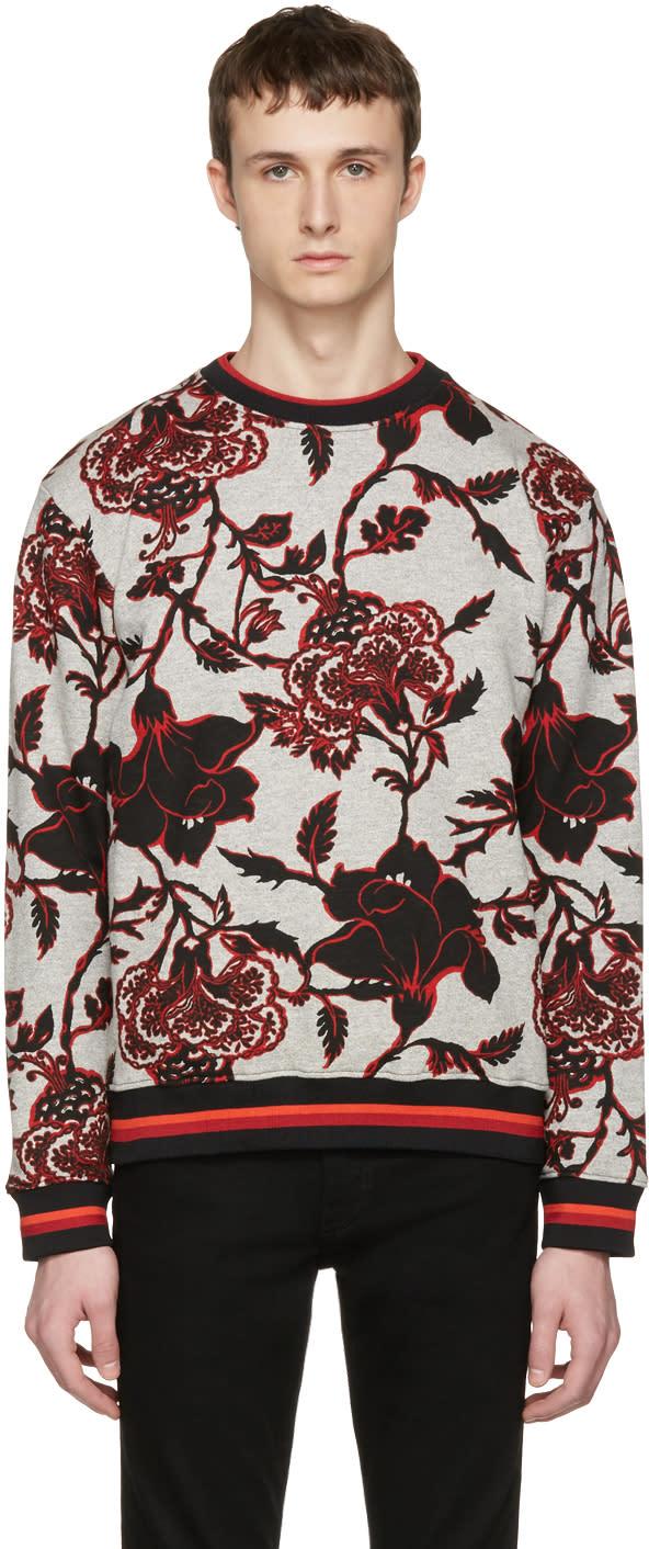 Mcq Alexander Mcqueen Grey Floral Pullover
