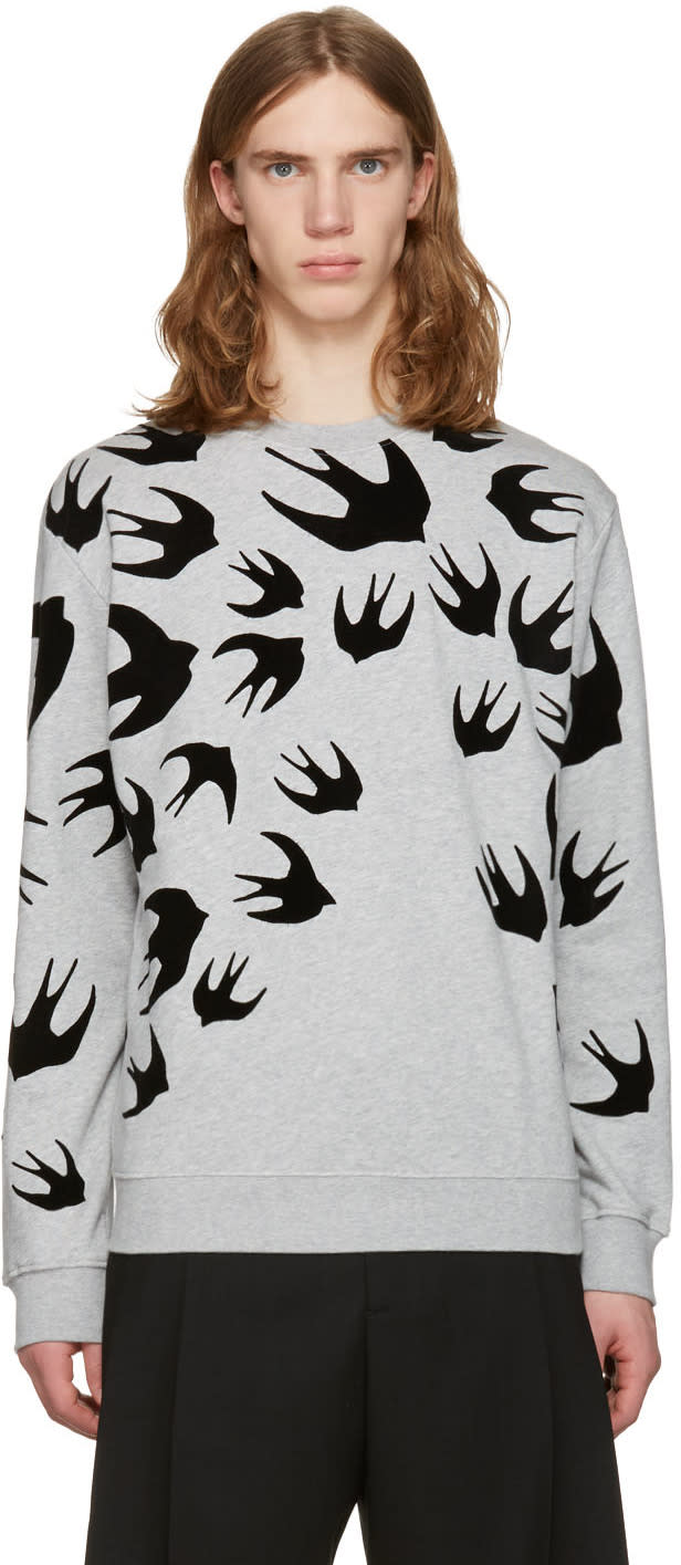 Mcq Alexander Mcqueen Grey Swallows Pullover