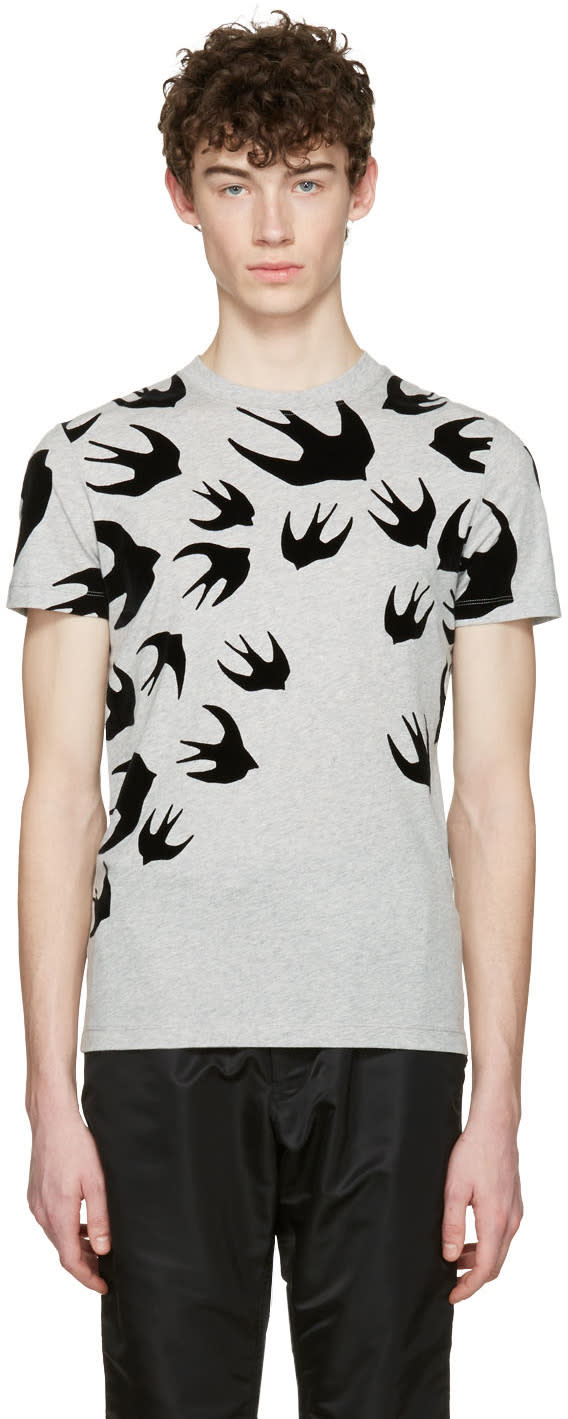 Mcq Alexander Mcqueen Grey Swallows T-shirt
