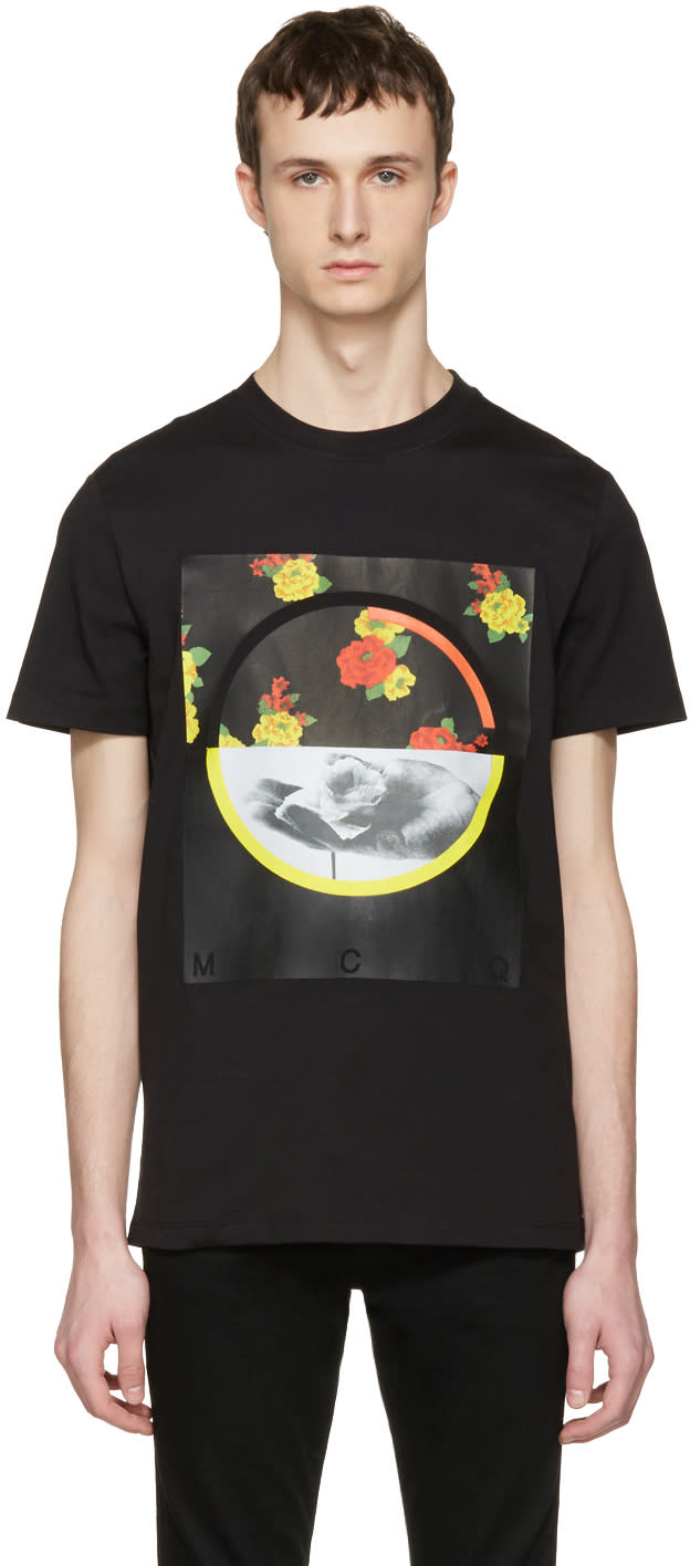 Mcq Alexander Mcqueen Black Floral T-shirt