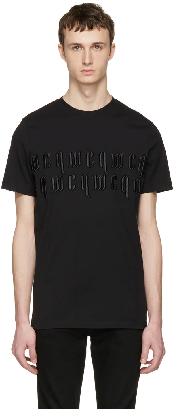 Mcq Alexander Mcqueen Black Embroidered T-shirt