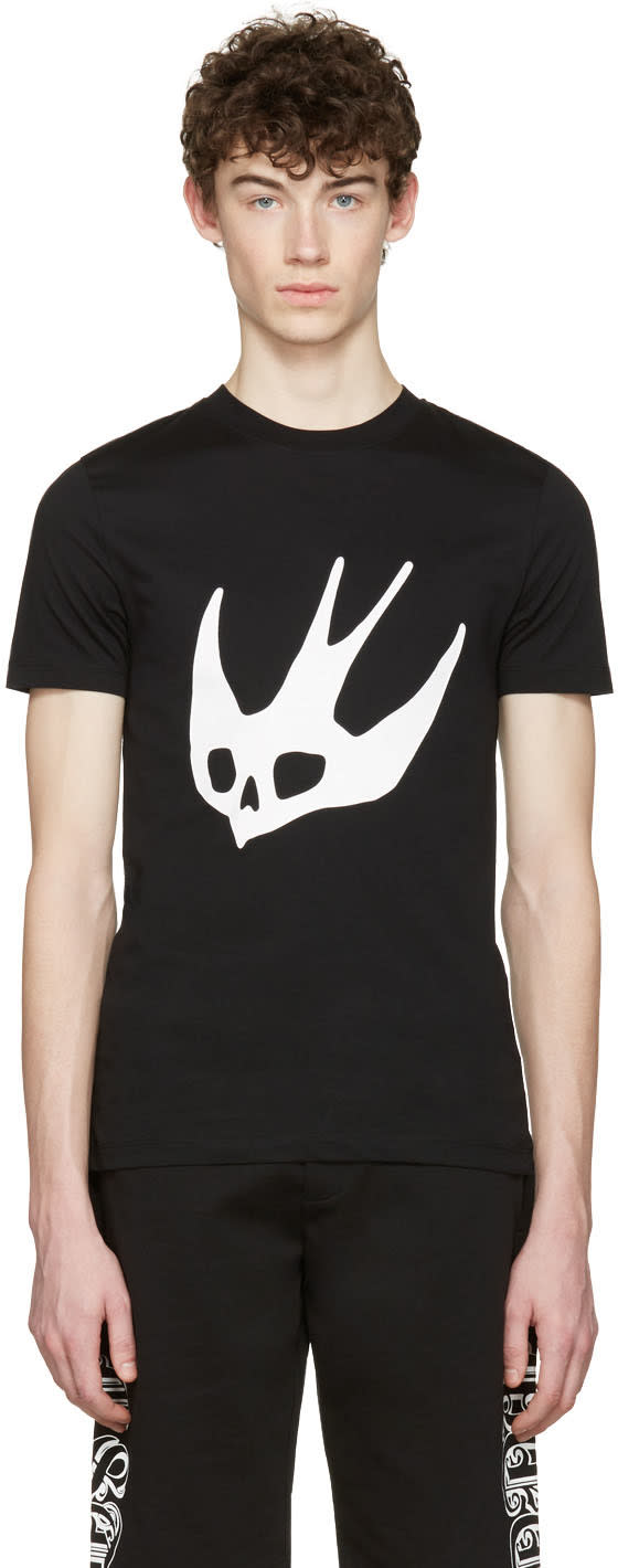 Mcq Alexander Mcqueen Black Swallow T-shirt