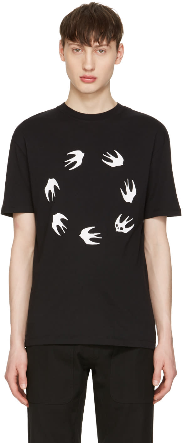 Mcq Alexander Mcqueen Black Swallows T-shirt