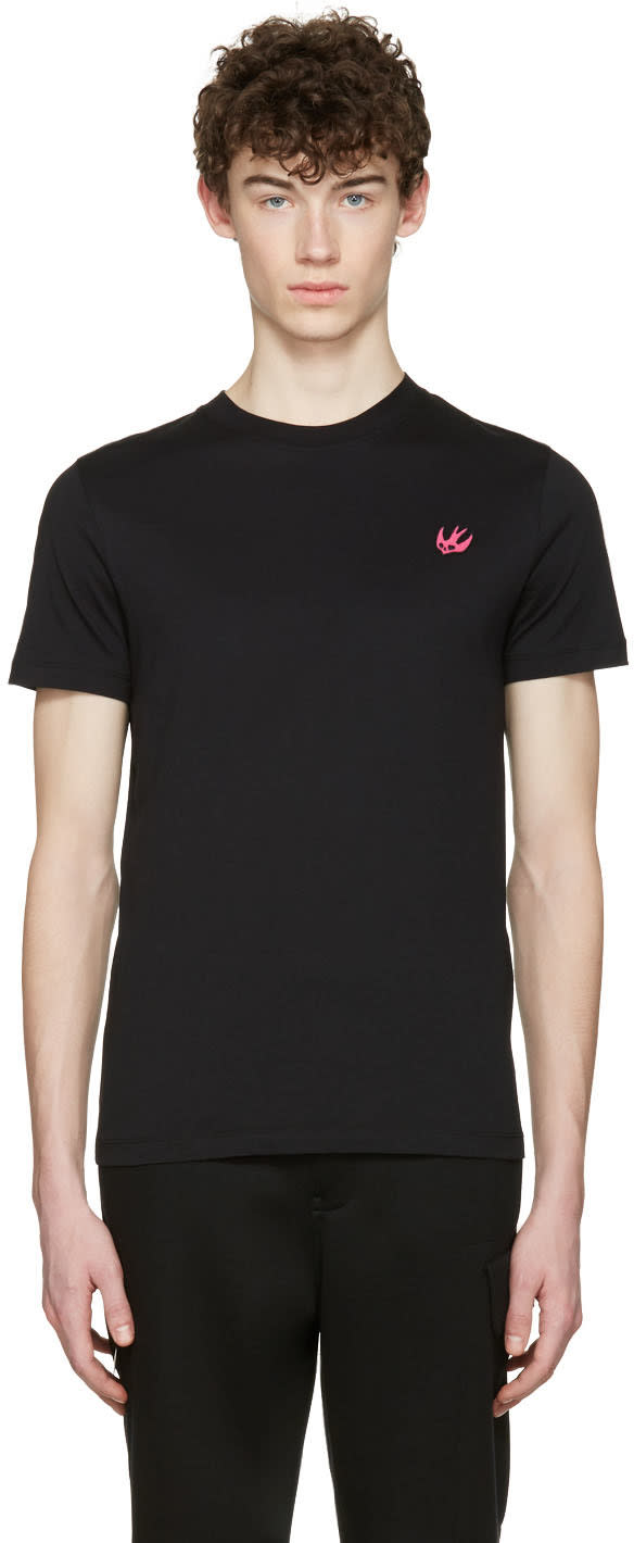 Mcq Alexander Mcqueen Black Swallow Patch T-shirt