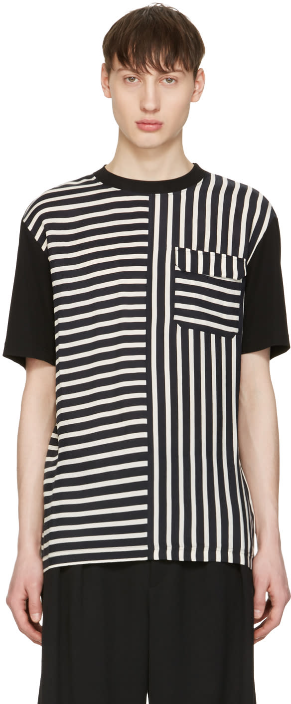 Mcq Alexander Mcqueen Blue Striped River T-shirt