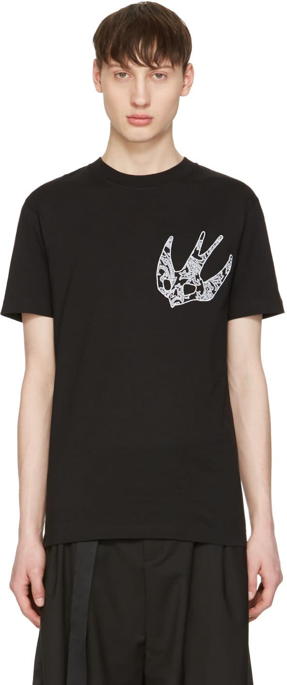 Mcq Alexander Mcqueen Black Paisley Swallow T-shirt
