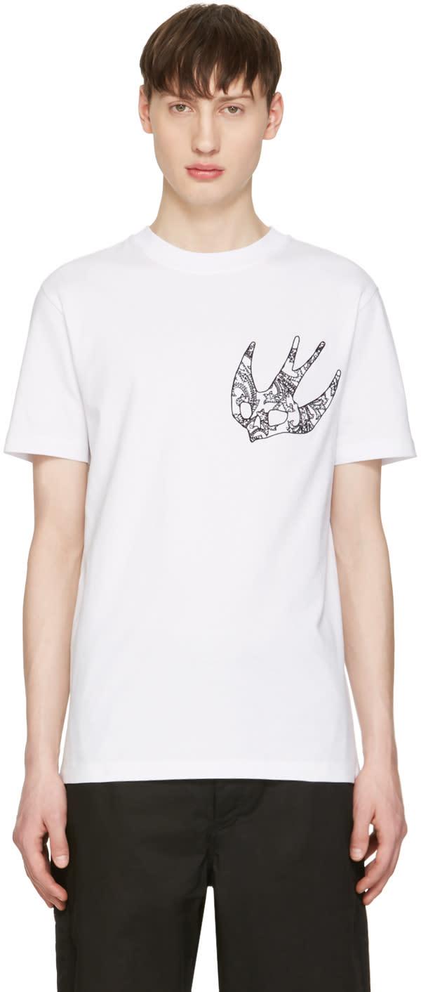 Mcq Alexander Mcqueen White Paisley Swallow T-shirt