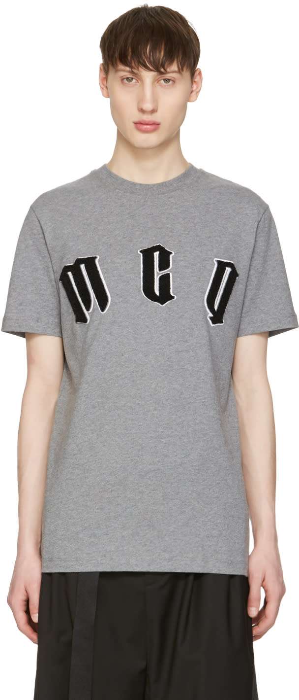 Mcq Alexander Mcqueen Grey Logo T-shirt