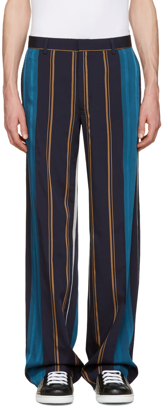 Tiger Of Sweden Navy Striped Eamon Trousers