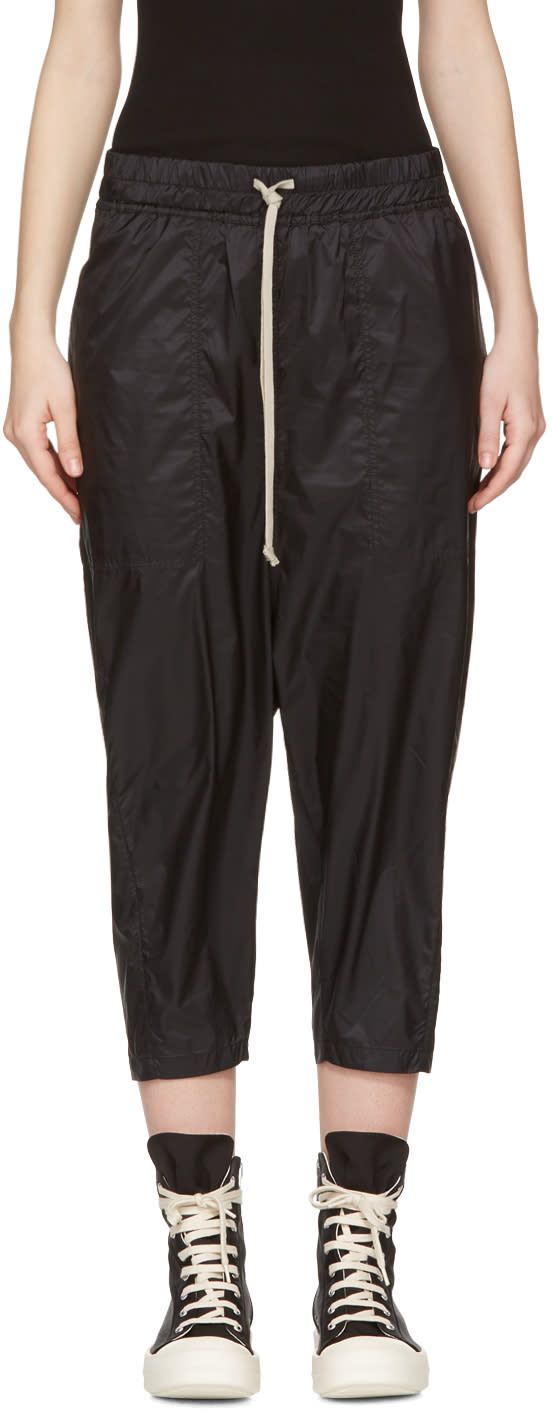 Rick Owens Drkshdw Black Drawstring Cropped Lounge Pants