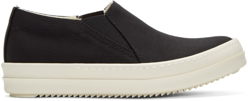 Rick Owens Drkshdw Black Nylon Boat Slip-on Sneakers