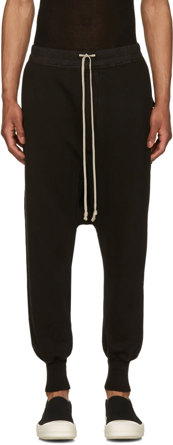 Rick Owens Drkshdw Black Fleece Prisoner Drawstring Lounge Pants