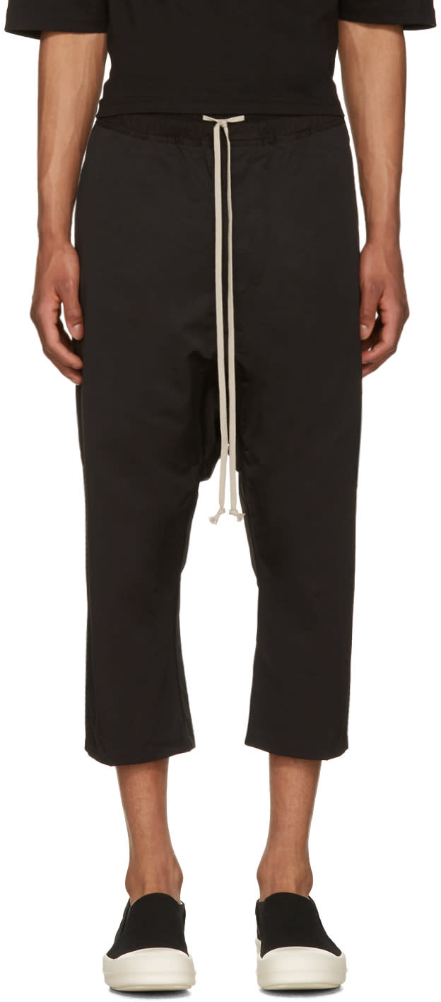 Rick Owens Drkshdw Black Drawstring Cropped Trousers
