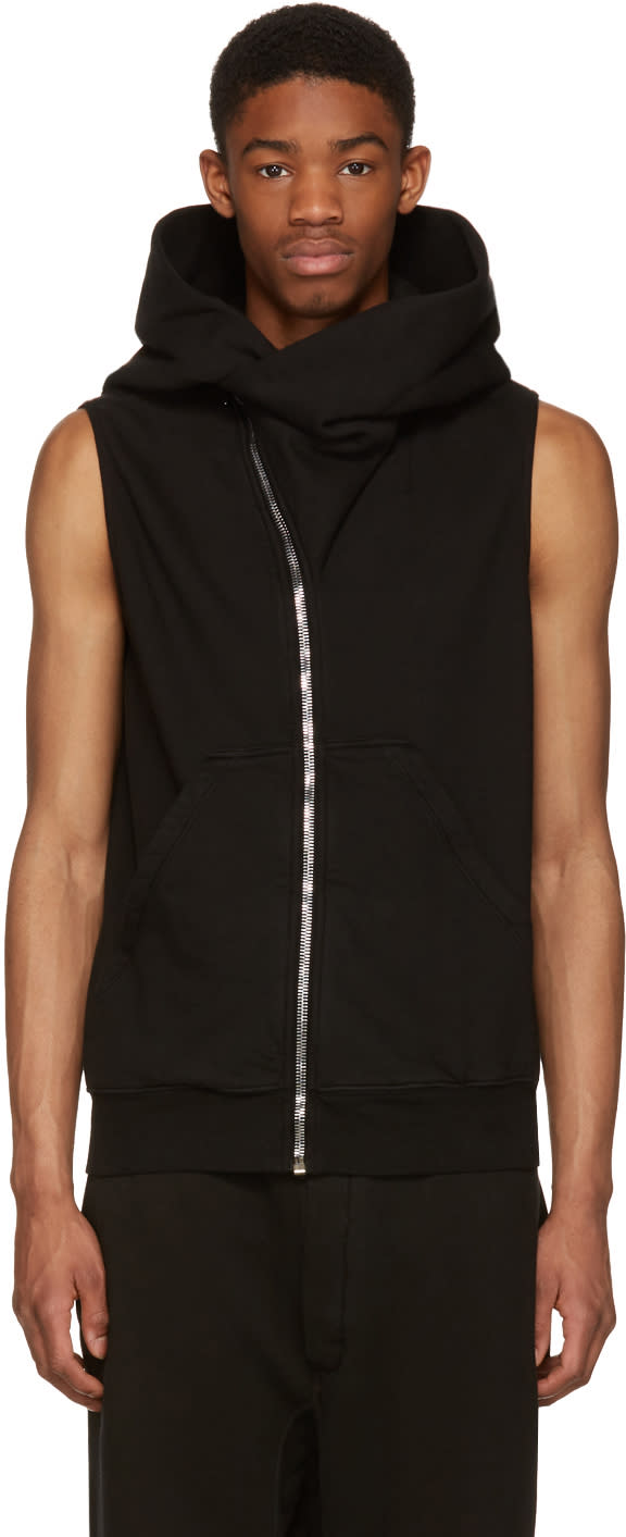 Rick Owens Drkshdw Black Sleeveless Mountain Hoodie
