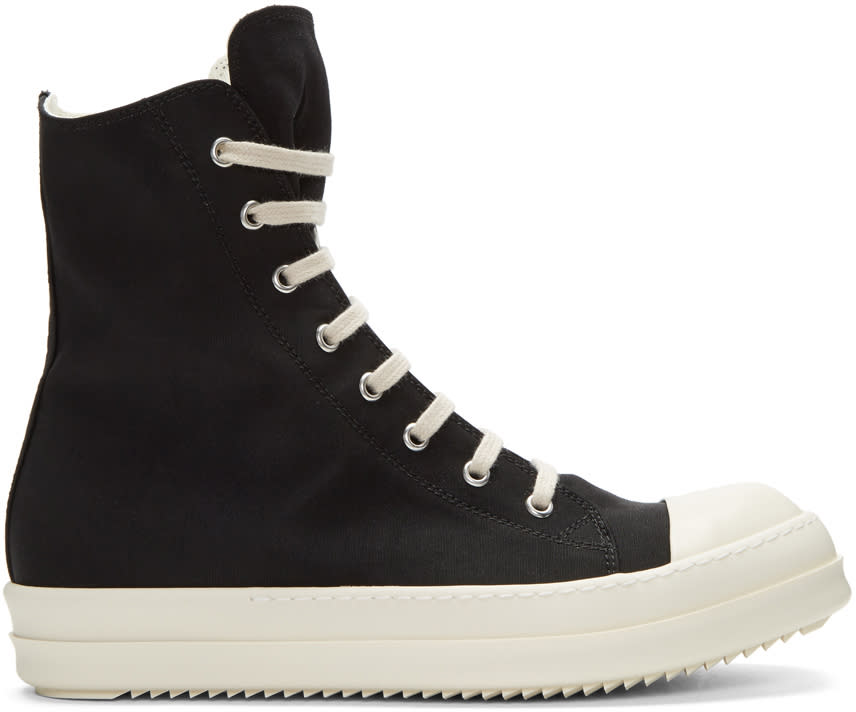 Rick Owens Drkshdw Black Nylon High-top Sneakers