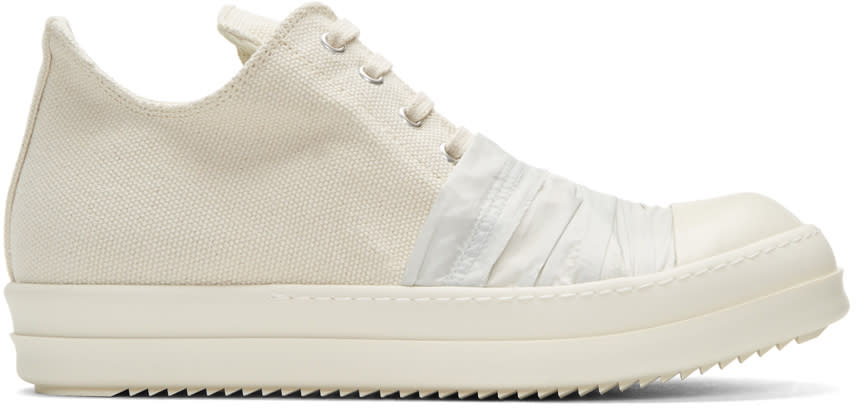 Rick Owens Drkshdw Ivory Canvas Low Sneakers