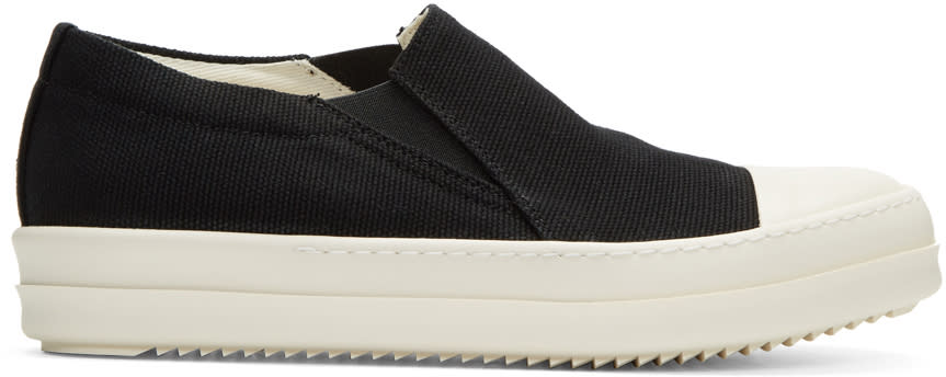 Rick Owens Drkshdw Black Canvas Boat Slip-on Sneakers