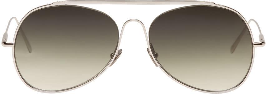 Acne Studios Silver Large Spitfire Aviator Sunglasses