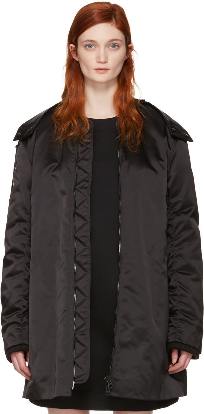 Acne Studios Black Long Lexi Bomber Jacket