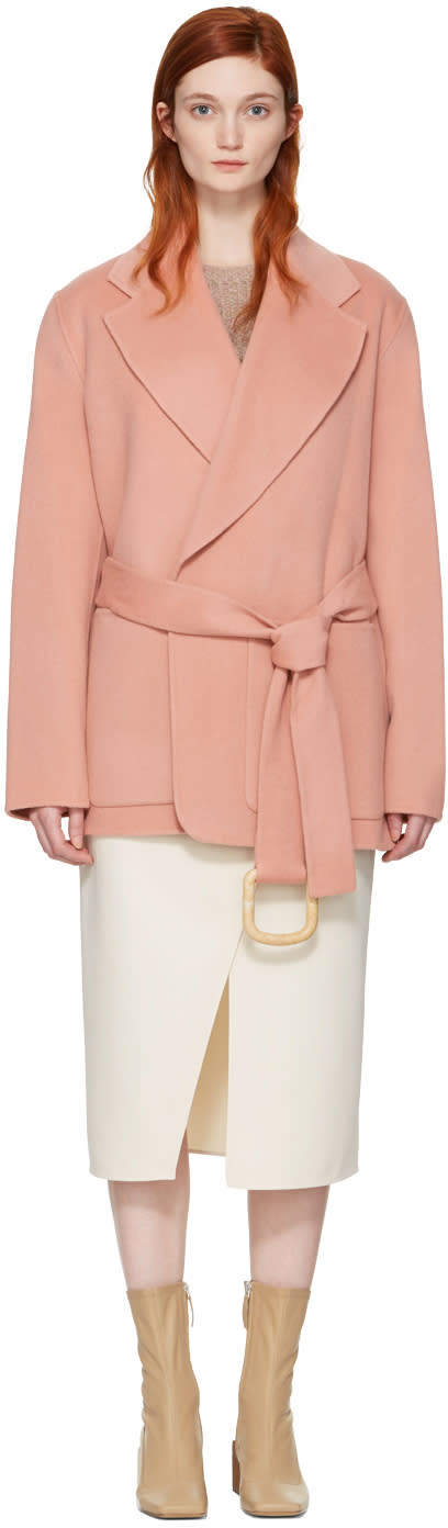 Acne Studios Pink Lilo Double Belted Coat