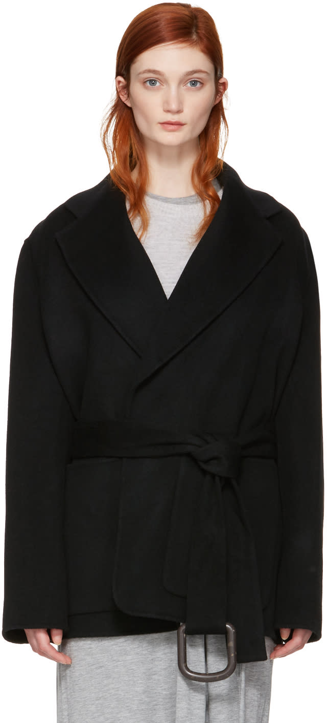 Acne Studios Black Lilo Double Belted Coat