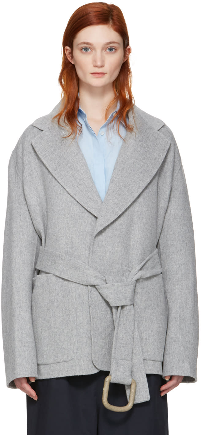 Acne Studios Grey Lilo Double Belted Coat