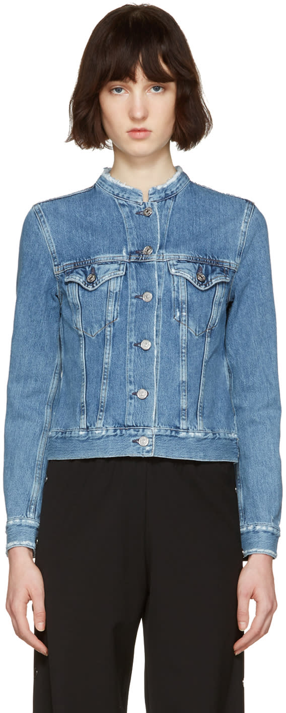 Acne Studios Indigo Denim Top Fray Jacket