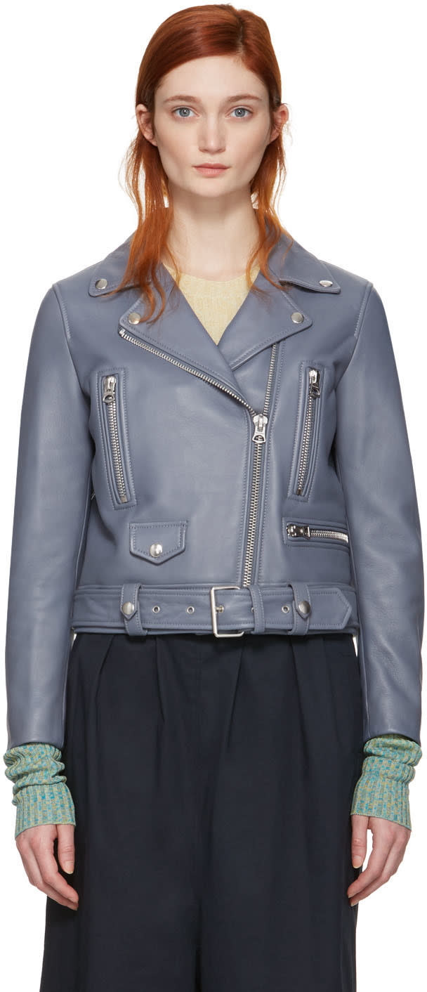 Acne Studios Blue Leather Mock Jacket