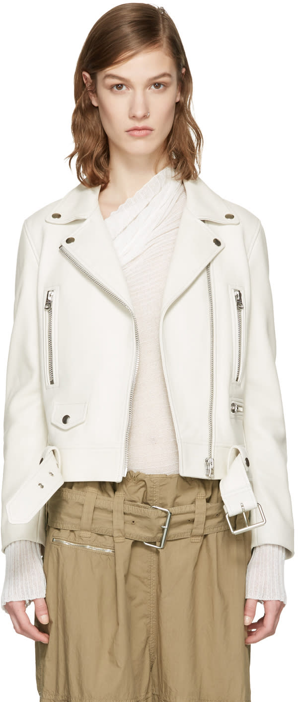 Acne Studios Ivory Leather Mock Jacket