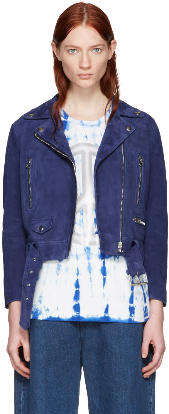 Acne Studios Blue Suede Mock Jacket
