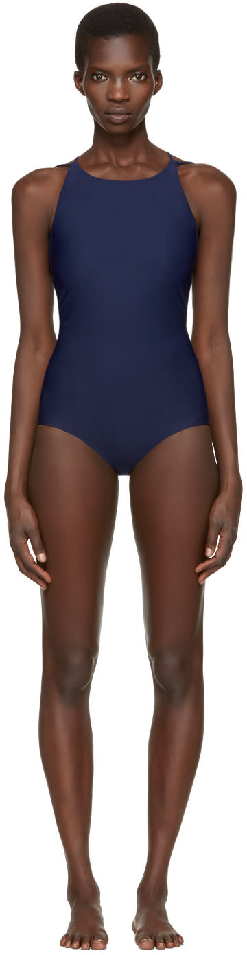 Acne Studios Navy Halla Open Back Swimsuit