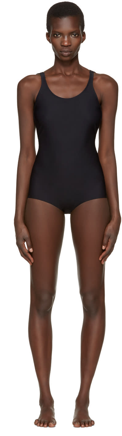 Acne Studios Black Halla Open Back Swimsuit