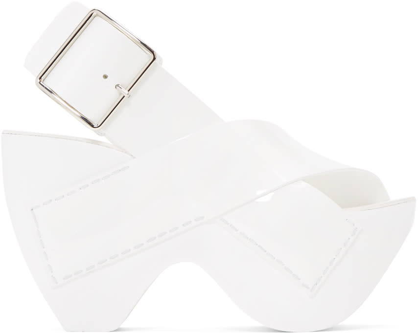 Acne Studios White Patent Carley Sandals