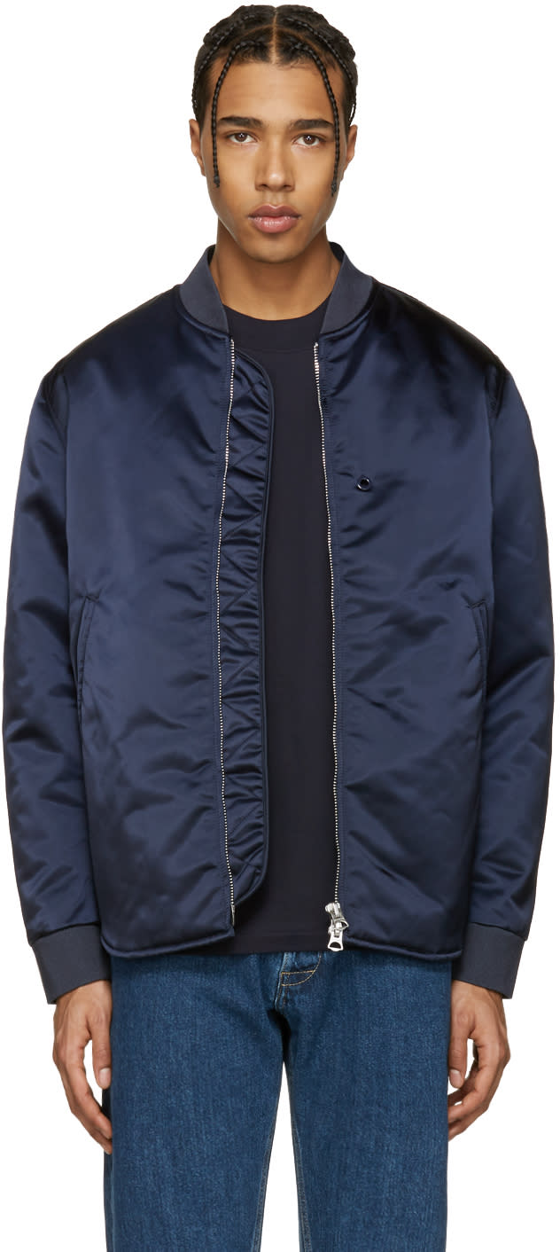 Acne Studios Navy Mylon Bomber Jacket