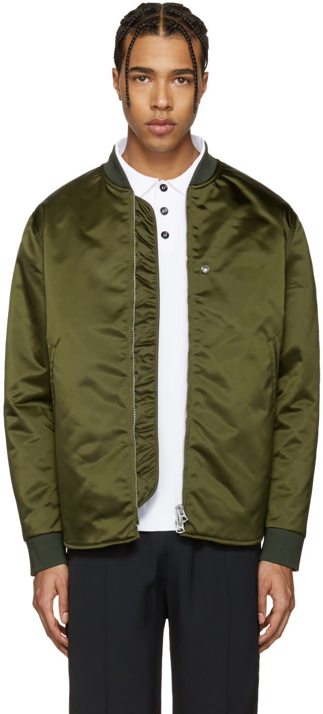 Acne Studios Green Mylon Bomber Jacket